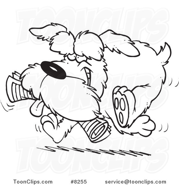 Line Drawing Newspaper : Cartoon black and white line drawing of a schnauzer dog