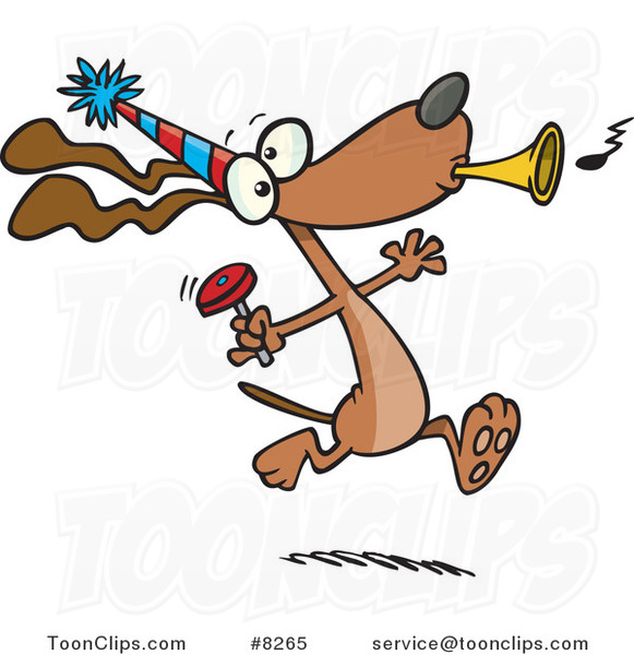 Cartoon Party Dog with Noise Makers