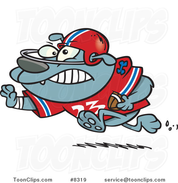 Cartoon Football Bulldog Running with a Straight Arm