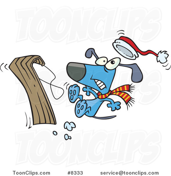 Cartoon Dog Falling off a Sled