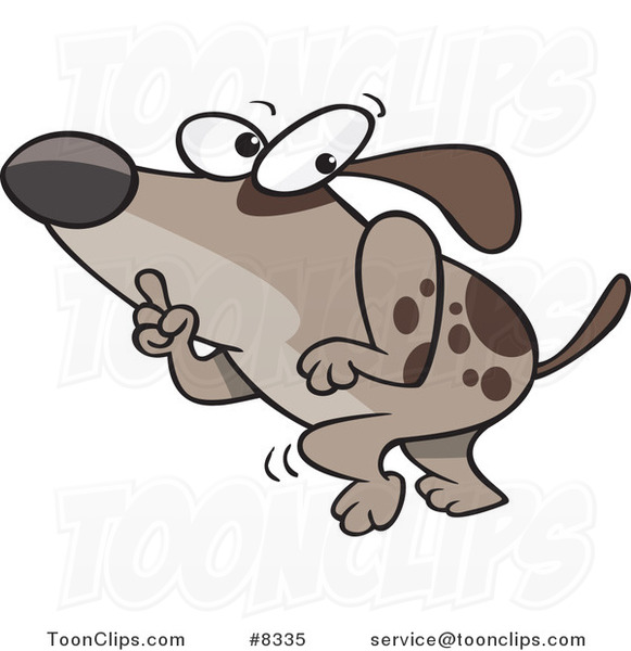 Cartoon Sneaky Dog Tip Toeing