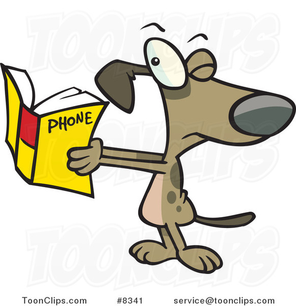 Cartoon Dog Squinting at a Phone Book