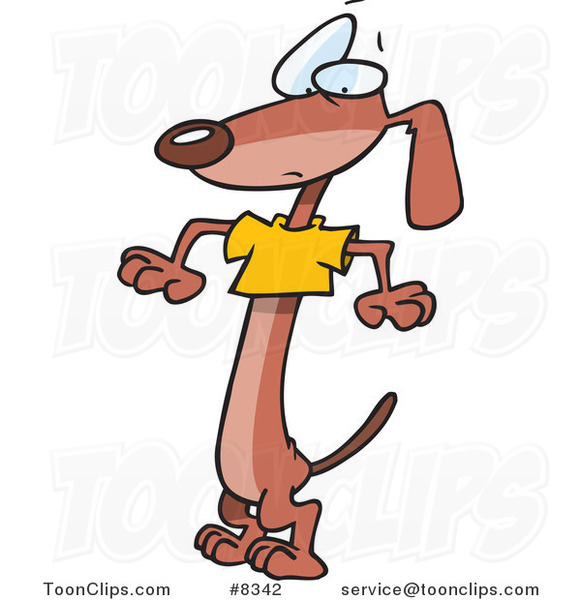 Cartoon Wiener Dog Wearing a Short T Shirt