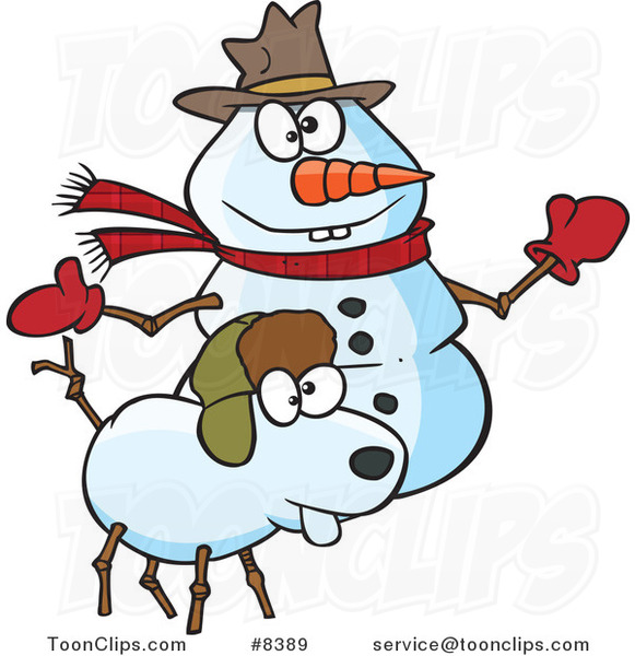 Cartoon Snow Dog and Snowman