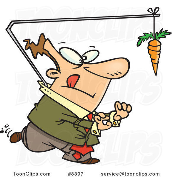 Cartoon Business Man Chasing a Carrot Lead