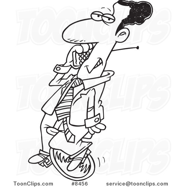 cartoon black and white line drawing of a black business