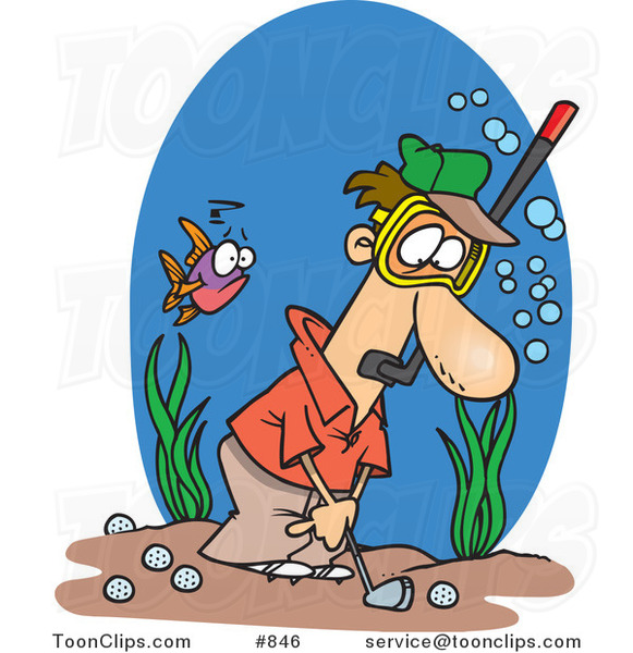 Cartoon Guy Wearing a Snorkel Mask and Golfing Underwater