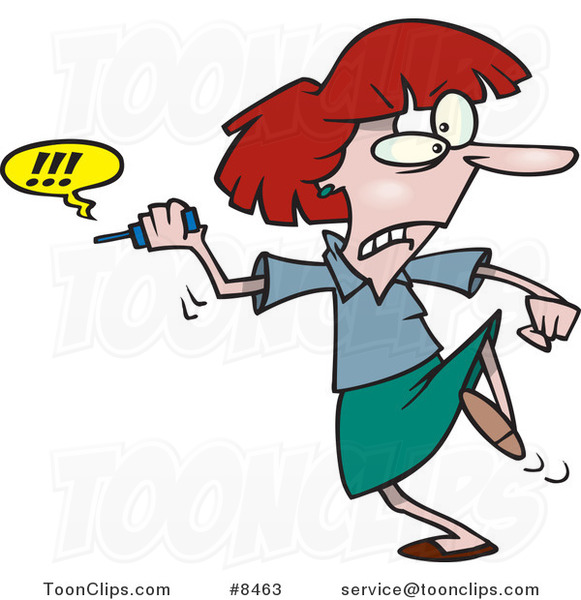 Cartoon Business Woman Fed up with Her Cell Phone