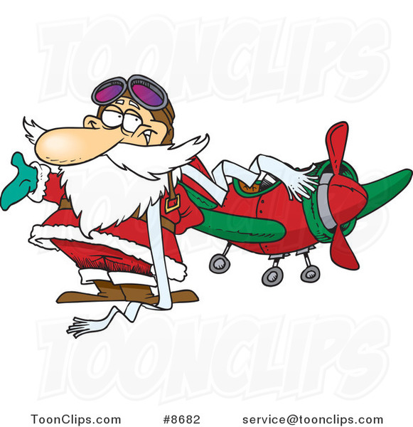 Cartoon Pilot Santa