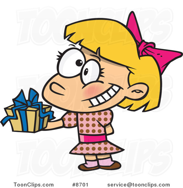 Cartoon Girl Holding a Gift at a Party