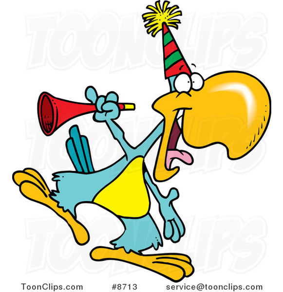 Cartoon Party Parrot with a Horn