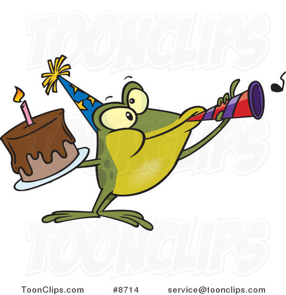 Cartoon Birthday Frog Holding a Cake and Using a Noise Maker