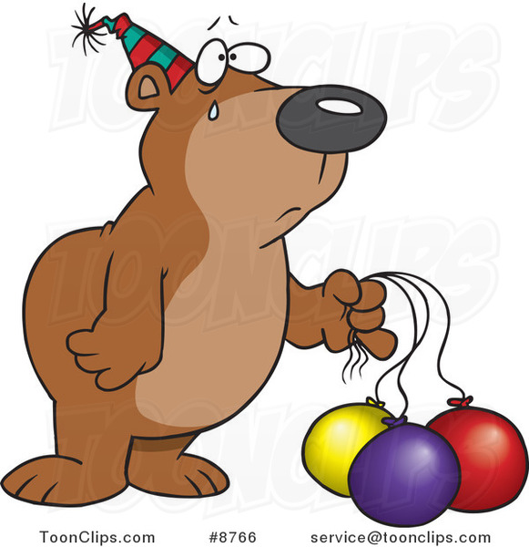 Cartoon Birthday Bear with Deflating Balloons