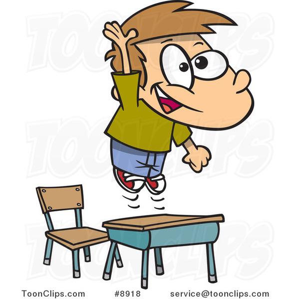 School Desk Cartoon Cartoon school boy jumping