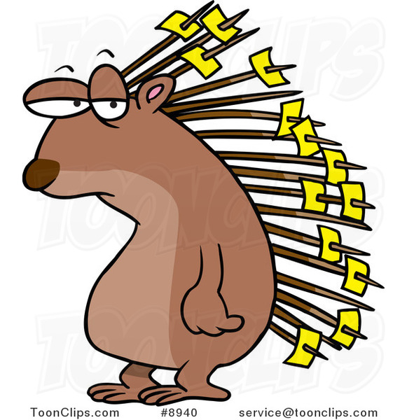 Cartoon Porcupine With Memos On His Quills 8940 By Ron Leishman