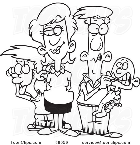 Cartoon Black and White Line Drawing of a Silly Family #9059 by Ron ...