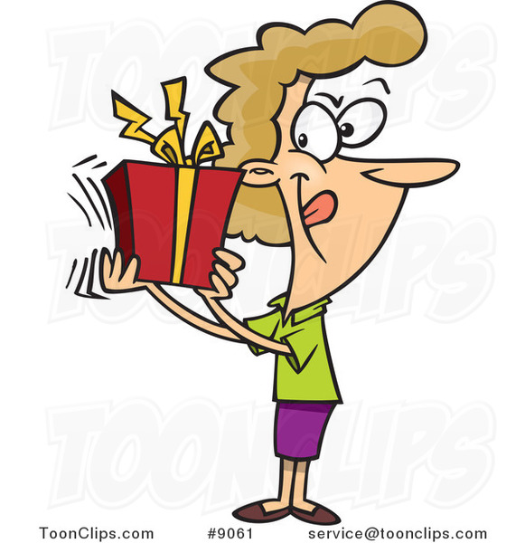 Cartoon Lady Shaking Her Gift