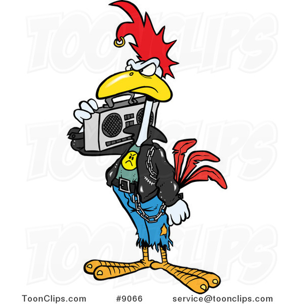 Cartoon Punky Rooster With A Boom Box 9066 By Ron Leishman