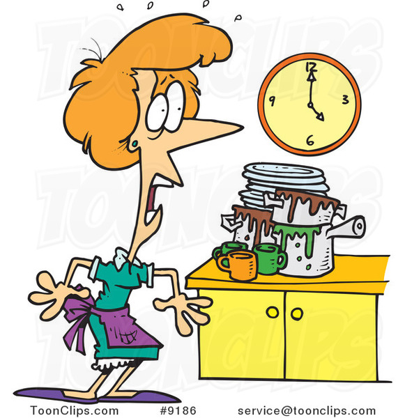 Funny Messy Kitchen: Cartoon Lady Panicking In A Messy Kitchen #9186 By Ron