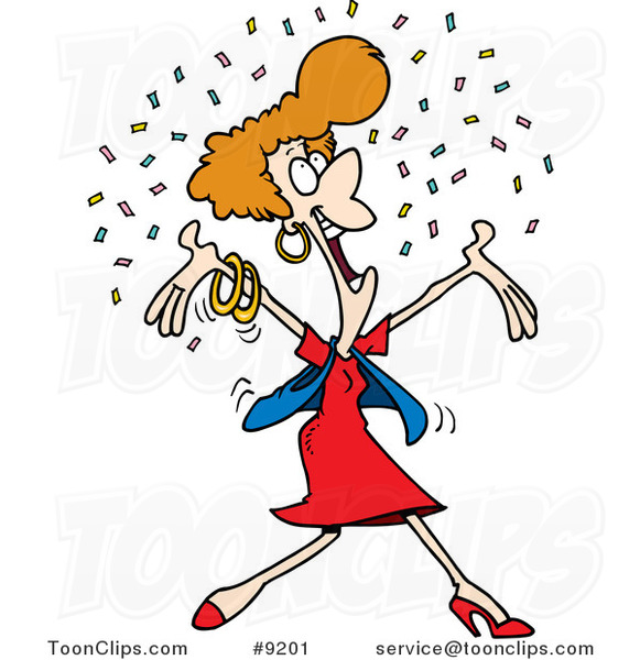 Cartoon Happy Lady in Confetti