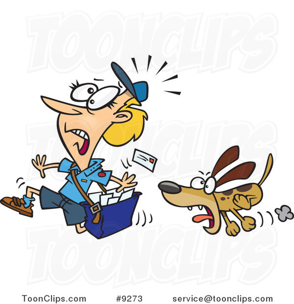 Cartoon Dog Chasing a Mail Lady