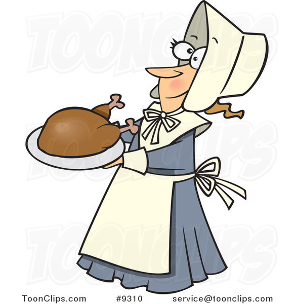 Cartoon Lady Pilgrim Serving a Turkey