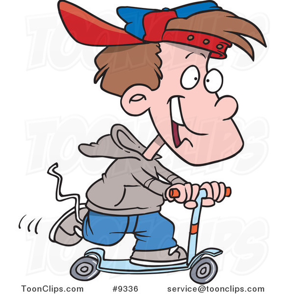 Cartoon Boy Riding a Scooter