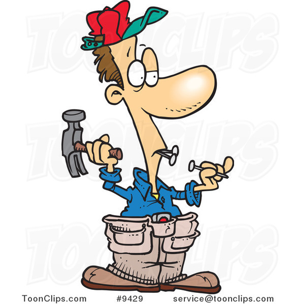 Cartoon Carpenter Holding Nails in His Teeth