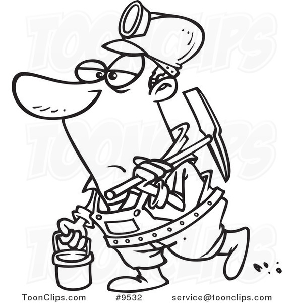 Cartoon Black And White Line Drawing Of A Coal Miner 9532