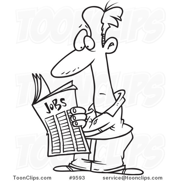 Line Drawing Jobs : Cartoon black and white line drawing of a guy seeking for