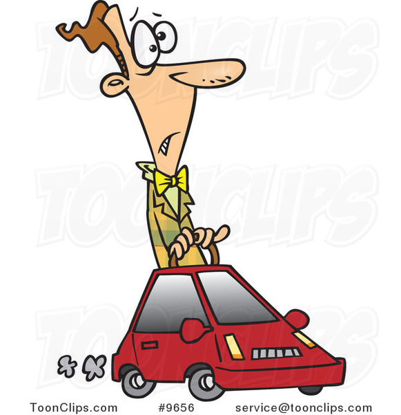 Cartoon Guy Driving a Compact Car