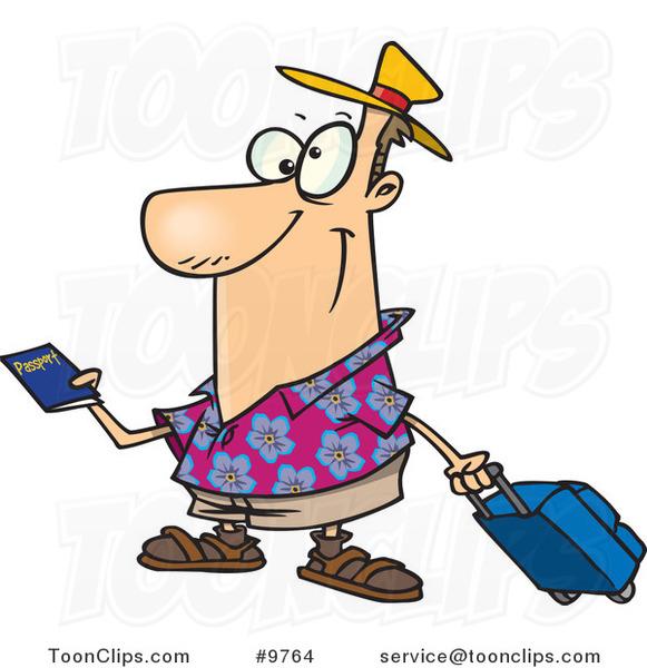 Cartoon Passport Cartoon traveler holding a