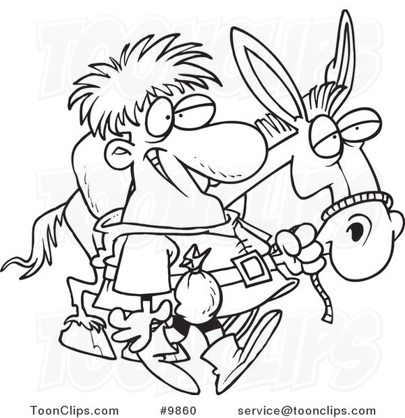 Line Drawing Donkey : Cartoon black and white line drawing of a peddlar with