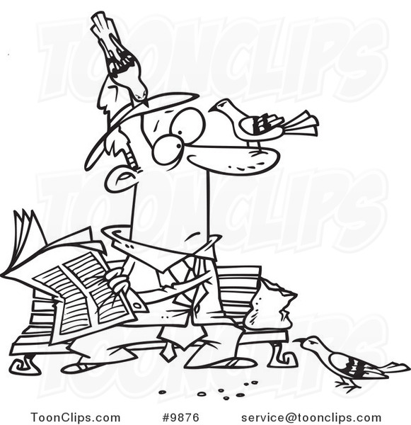 Line Drawing Newspaper : Cartoon black and white line drawing of a pigeons on guy