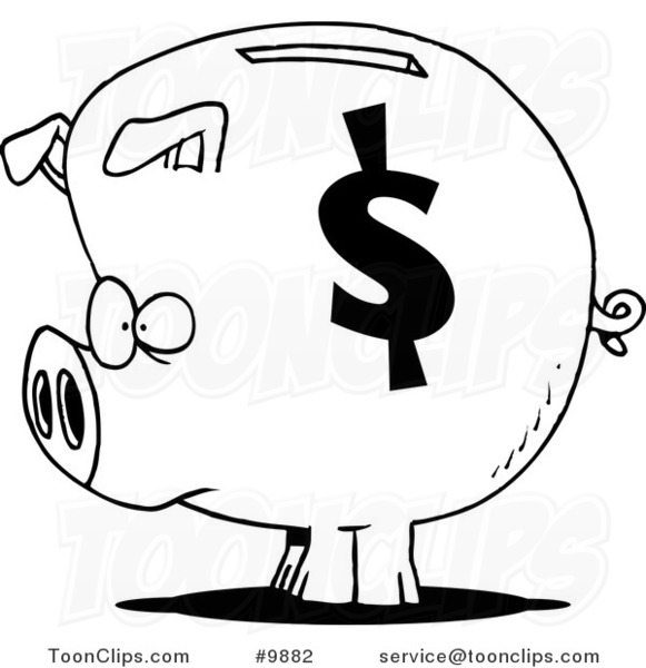 Line Drawing Piggy Bank : Cartoon black and white line drawing of a dollar symbol on