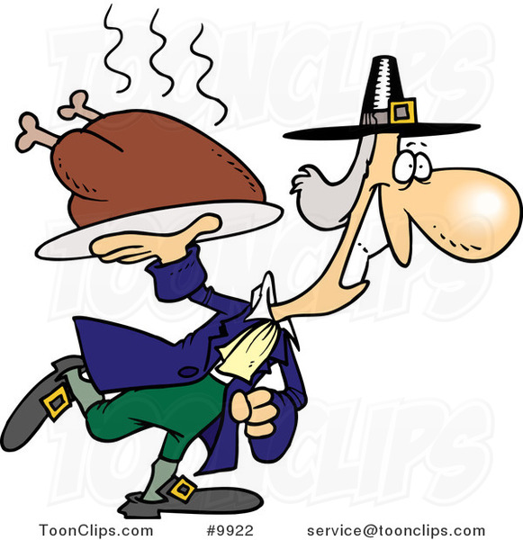 Cartoon Pilgrim Carrying a Hot Turkey