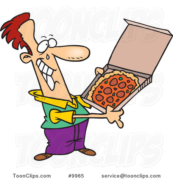 Cartoon Happy Guy with Pizza