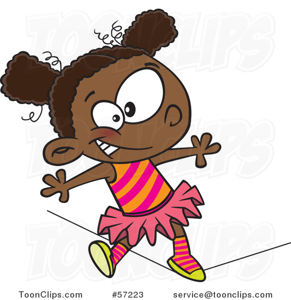 Cartoon African Girl Walking a Circus Tight Rope