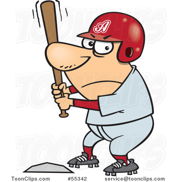 Cartoon Aggressive Baseball Player Batting at Home Base