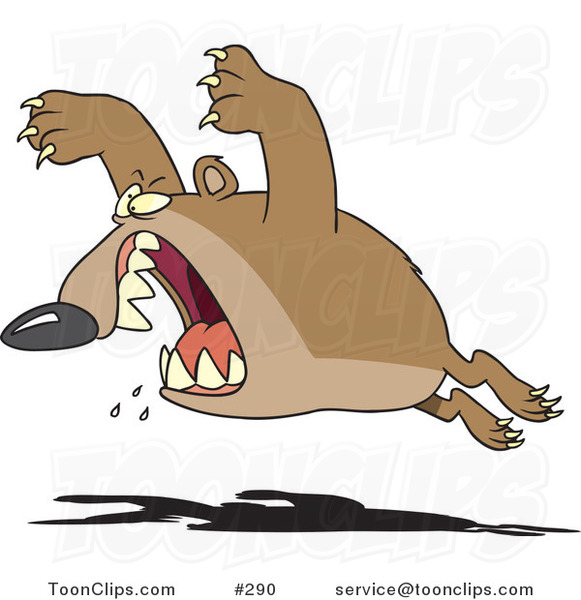Cartoon Aggressive Bear Leaping #290 by Ron Leishman