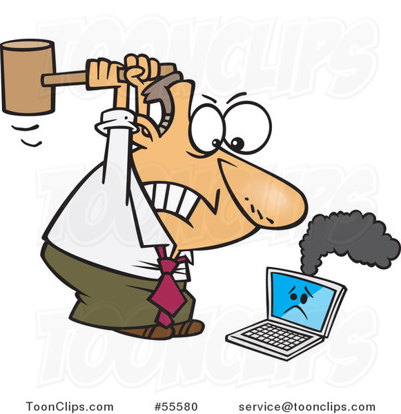 Cartoon Angry White Business Man Whacking a Broken Laptop with a Mallet