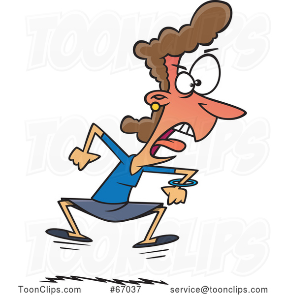 Cartoon Angry White Businesswoman Throwing a Tantrum