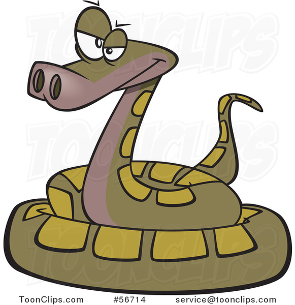 Cartoon Annoyed Green Coiled Snake