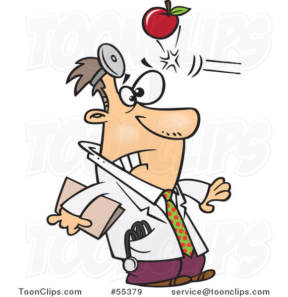 Cartoon Apple Hitting a Doctor in the Head