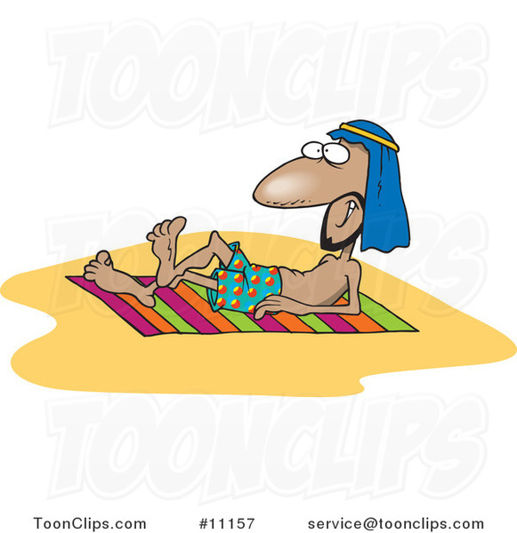 Cartoon Arabian Guy Sun Bathing