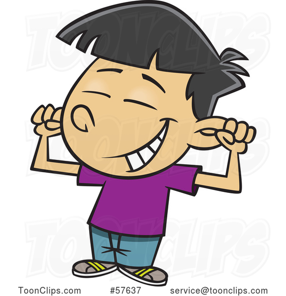 Cartoon Asian Boy Flexing His Muscles and Grinning