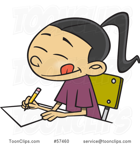 Cartoon Asian School Girl Writing an Essay