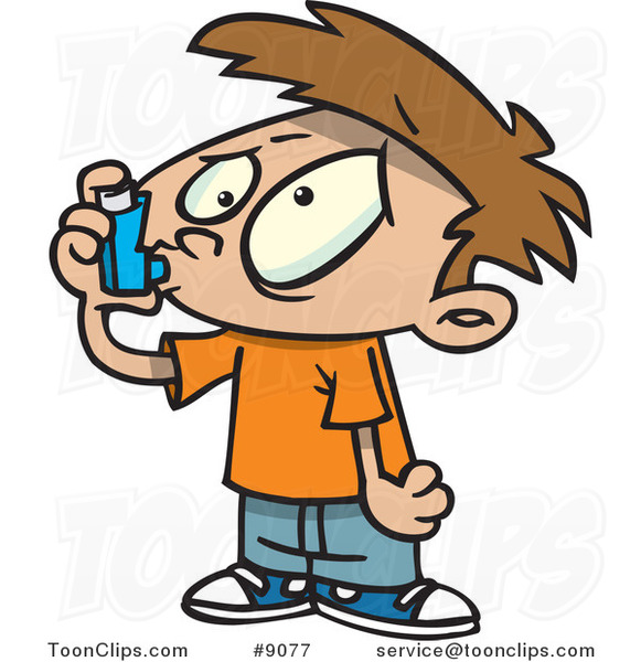 Cartoon Asthmatic Boy Using an Inhaler