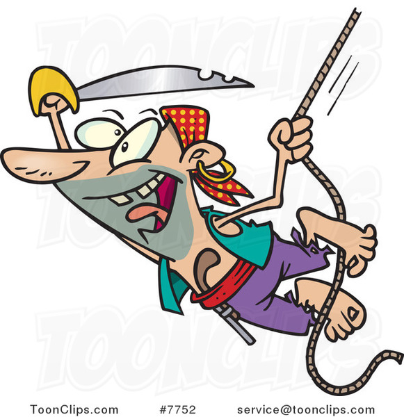 Cartoon Attacking Pirate Swinging on a Rope
