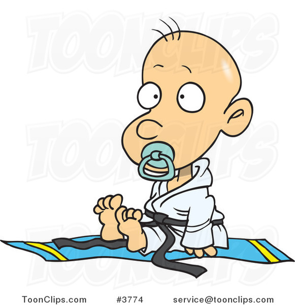 Cartoon Baby Boy in a Judoka Robe